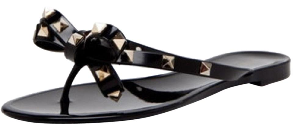 Valentino Black Sandals and Gold Rock Stud Sandals Black bb61d1