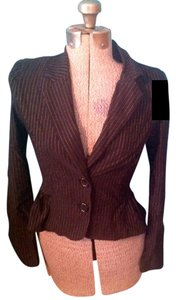 Charlotte Russe Buttons Pin Stripe Made In Usa Rayon Black and white Blazer