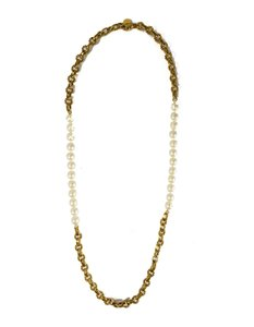 Chanel Chanel Vintage '70s Gold Cable Chain Link & Pearl Necklace