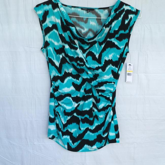 Chaus Top Aqua blue, black and white