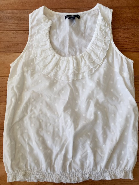 Gap Sleeveless Ruffle Top White