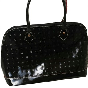 Arcadia Leather Red Satchel in Black Patent