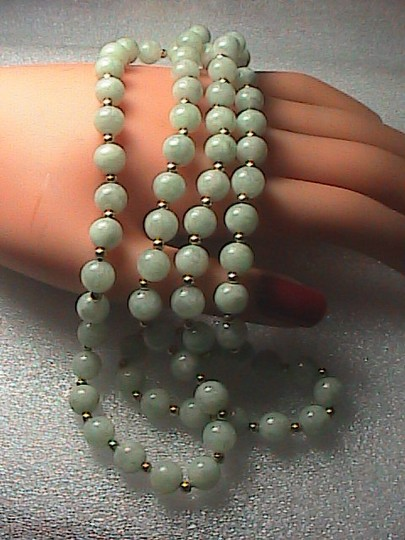 Vintage 14k Yellow Gold Beads Apple Green Jadeite Jade Necklace