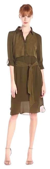Preload https://img-static.tradesy.com/item/15967057/haute-hippie-military-green-genuine-silk-and-suede-knee-length-short-casual-dress-size-12-l-0-2-650-650.jpg