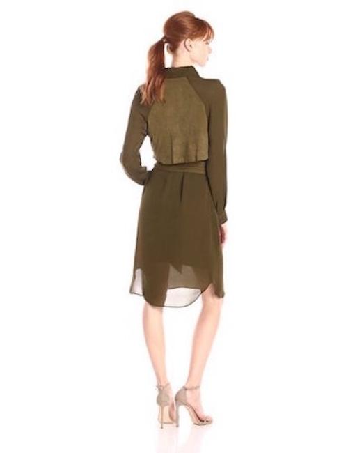 Haute Hippie short dress MIlitary Green Silk Suede Pop-out Shirt Khaki on Tradesy