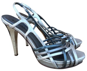 Michael Antonio Blue Strappy Metallic Silver Sandals
