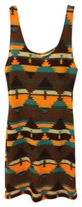 Audrey short dress Multicolored Tribal Print Aztec Blue Orange Brown Stretchy Spring Summer Form Fitting Scoop Back on Tradesy