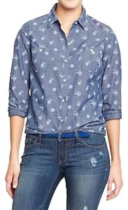 Old Navy Denim Floral Button Down Button Down Shirt Chambray Blue