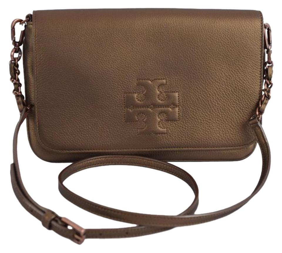 1fe7a3a3d29b Tory Burch Clutch Thea Foldover Bronze Cross Body Bag - Tradesy