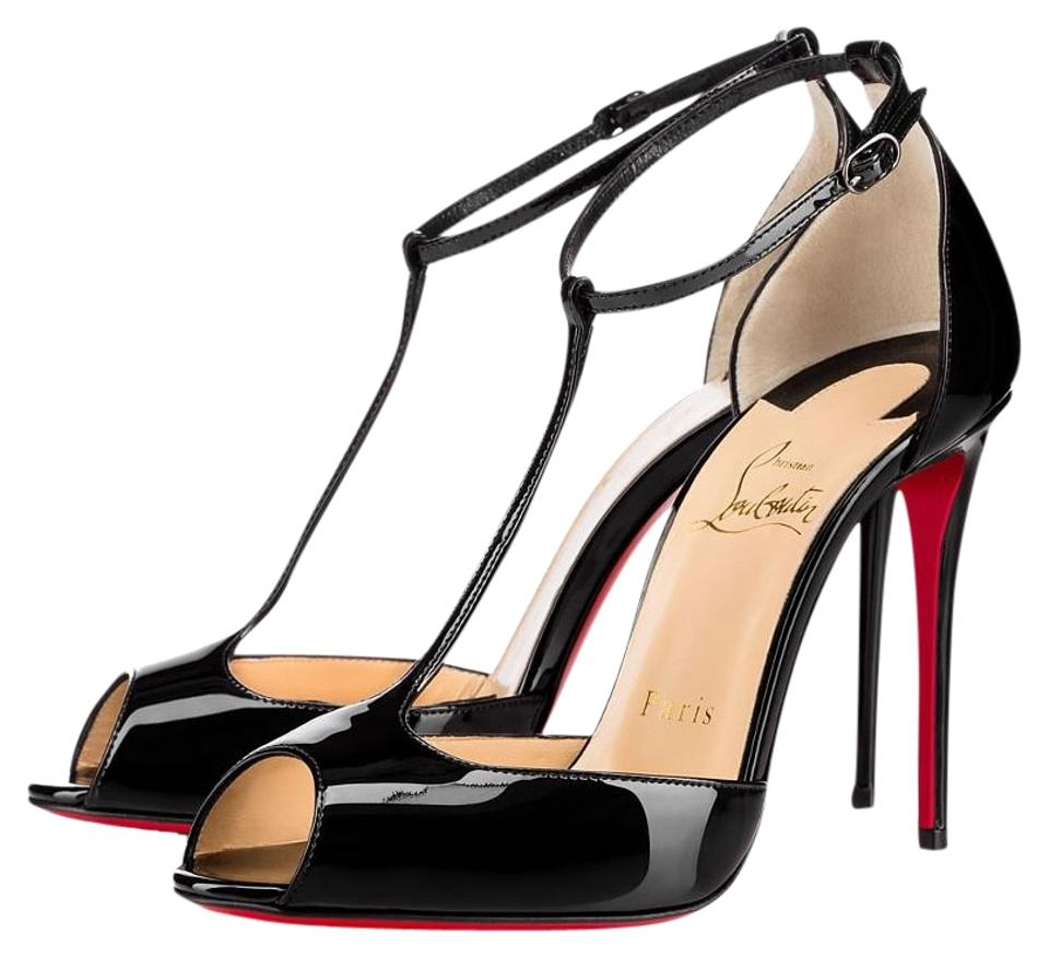 1cf5ddf0735 Christian Louboutin Black Senora 100 Patent Leather Sandals Size US ...