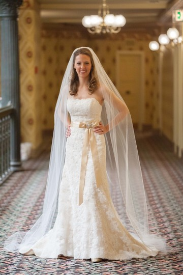 Maggie Sottero Ivory / Light Gold Underlay Alencon Lace Karena Royale Modest Wedding Dress Size 6 (S)