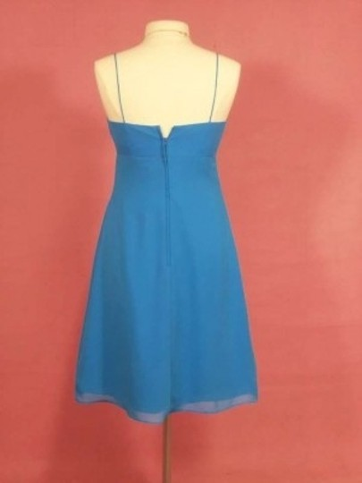 Alfred Angelo Marine Blue Chiffon 7137 Formal Bridesmaid/Mob Dress Size 8 (M)