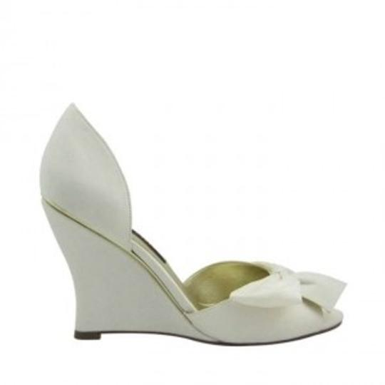 Nina Shoes Ivory Luster Satin Wedges