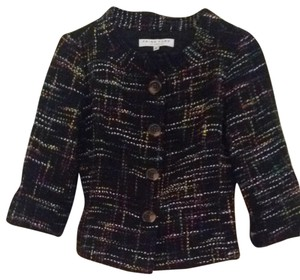 Trina Turk Black Tweed With Multi Colors Woven In Blazer