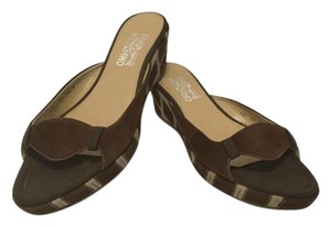 Salvatore Ferragamo Almost All Leather Brown and tan suede Sandals