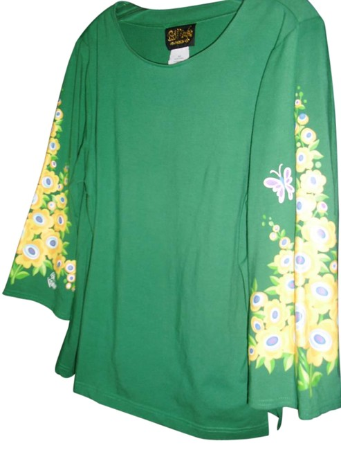 Preload https://item5.tradesy.com/images/bob-mackie-emerald-green-floral-signature-unique-w-signature-blouse-size-10-m-15969934-0-1.jpg?width=400&height=650
