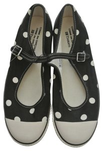 COMME des GARÇONS Polka Dot Printed Canvas Sneakers Mary Jane black Flats