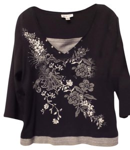 Coldwater Creek Layered Knit Studded Cotton New Top Black, grey, white,