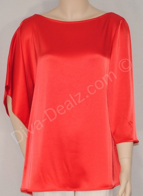 St. John Coral Satin Tunic Top Orange