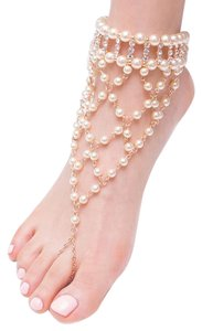 Barefoot Pearl Sandal Anklet With Crystal Accent