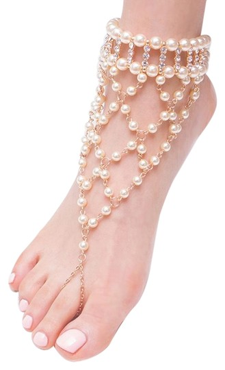 Other Barefoot Pearl Sandal Anklet With Crystal Accent