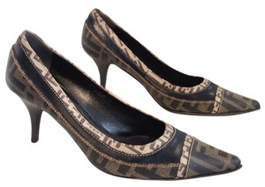 Fendi Gold Monogram Leather Vintage Tan/Brown Pumps