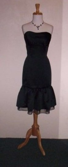 Alfred Angelo Black/Black Satin 7175 Formal Bridesmaid/Mob Dress Size 12 (L)
