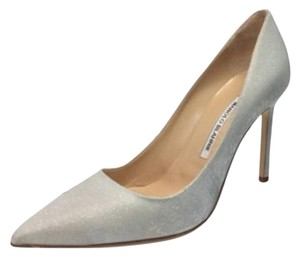 Manolo Blahnik White/Shimmer Pumps