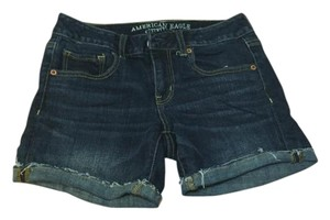 American Eagle Outfitters Cuffed Shorts Navy Blue, slightly washed look