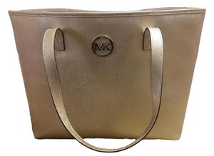 Michael Kors Jet Set Travel Saffiano Leather Tote in Pale Gold