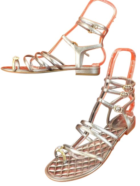 Item - Silver Leather Jewel Toe Ring Strappy Cc Logo Sandals Size EU 42 (Approx. US 12) Regular (M, B)
