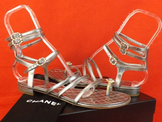 Chanel Silver Sandals