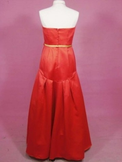 Alfred Angelo Persimmon/Kiwi Satin 7182 Formal Bridesmaid/Mob Dress Size 12 (L)