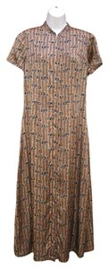 J. Peterman Silk Asian Maxi Career Night Out Dress