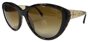 Chanel Tortoise Gold Polarized Sunglasses Bijou Collection with CHANEL Case