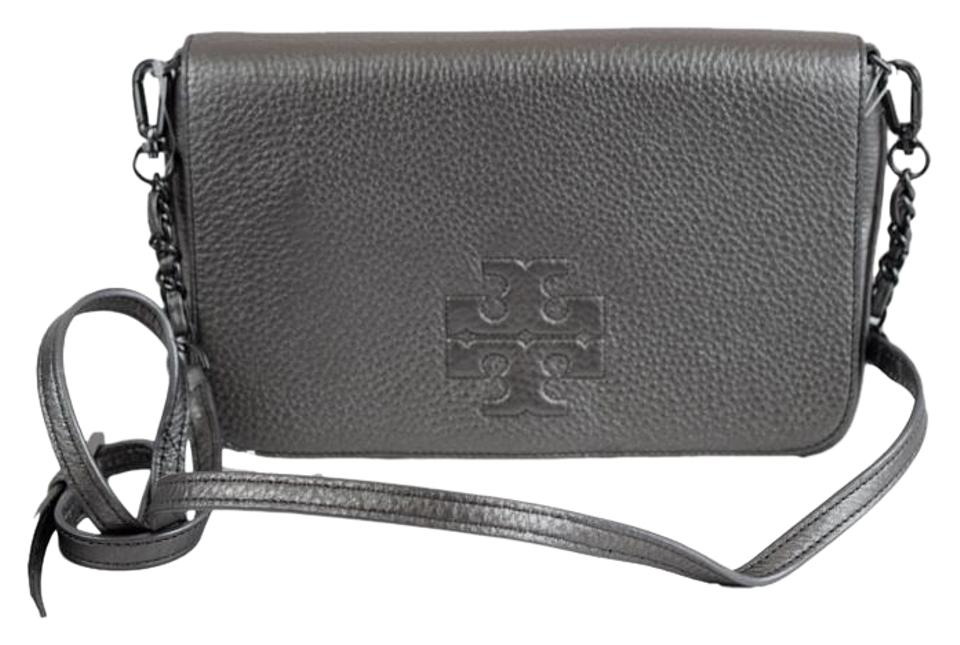 b62e59c87326 Relatively Tory Burch Thea Foldover Clutch Gunmetal Pebbled Leather Cross  CY61