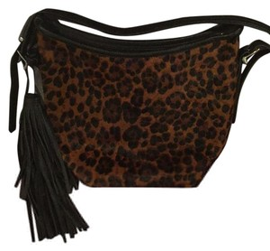 Zara Animal Print And Black Leather Messenger Bag