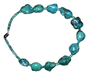 Very Unique Chunky Blue Turquoise Nugget Necklace