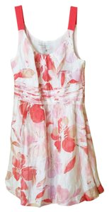 Ann Taylor LOFT short dress Pink & Off-White Linen Floral Cream Sleeveless on Tradesy