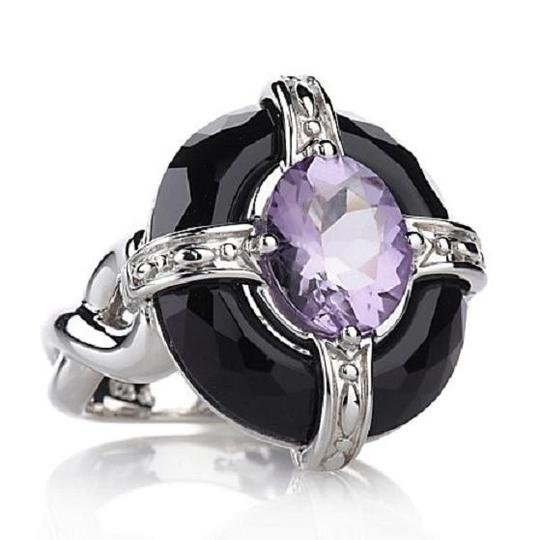 Victoria Wieck Victoria Wieck Amethyst and Faceted Black Onyx Sterling Silver Framed Ring - Size 7