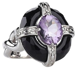 Victoria Wieck Victoria Wieck Amethyst and Faceted Black Onyx Sterling Silver Framed Ring - Size 8