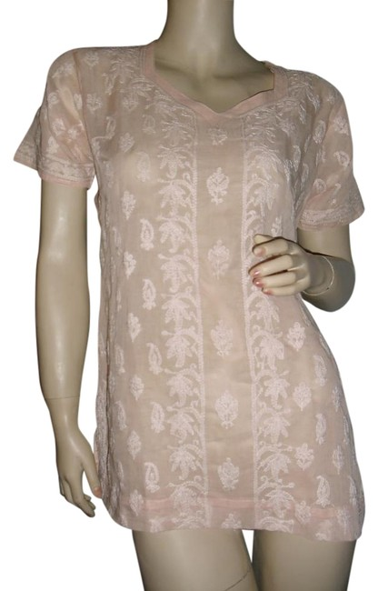 Preload https://item5.tradesy.com/images/fashionista-peach-salmon-bohemian-style-embroided-cotton-tunic-unique-floral-and-paisley-embroidered-15973069-0-1.jpg?width=400&height=650