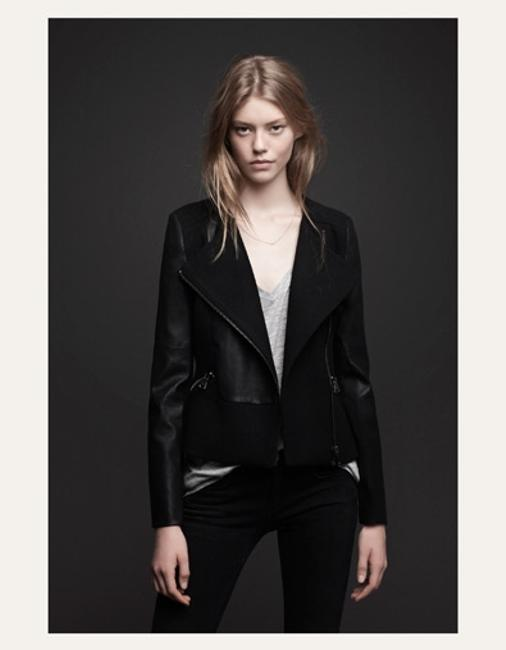 Zara Trf Combine Wool Moto Faux Leather Winter Coat Motorcycle Jacket