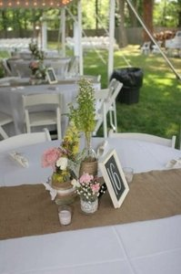 Burlap Runner with Lace Reception Decoration
