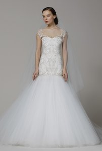 Marchesa Off-white with Gold and Silver Accent Trumpet Wedding Dress Size 2 (XS)