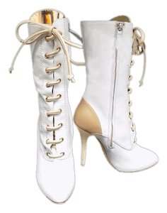 Christian Louboutin White With Beige Boots