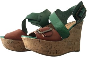 Mossimo Supply Co. Target Chunky Forest Nuetral Cork Formal Casual Spring Wedding Pretty Girls Womens Green and tan Wedges