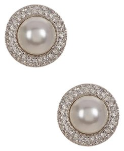Nadri Pave Framed Faux Pearl Clip-On Earrings