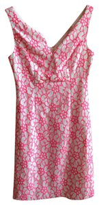 Lilly Pulitzer short dress Fiesta Pink Pique Lace Shift on Tradesy