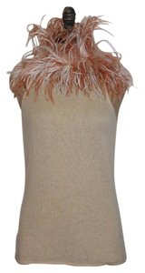 Ralph Lauren Black Label Feather Cashmere Top BEIGE